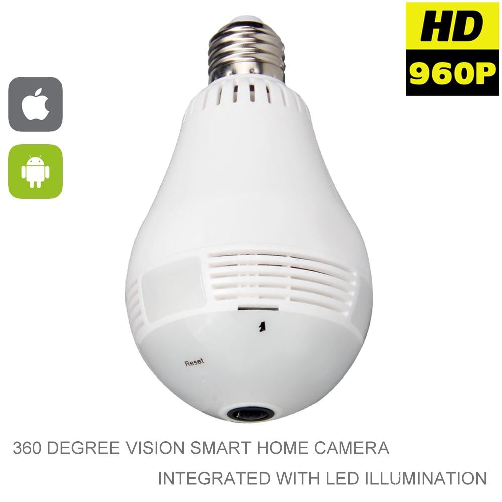 960P Wifi بانورامية 360 كاميرا IP لاسلكية كاميرا ضوء لمبة البسيطة كاميرا 3D VR WIFI مصباح CCTV كاميرا الأمن فيديو مراقبة
