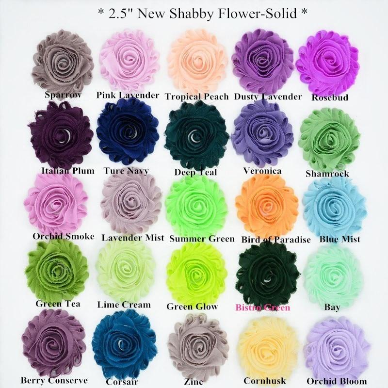 750 ياردة/مجموعة ، زهرة شيفون مهترئة 2.5 بوصة للملابس ، إكسسوارات شعر ، 108 لونًا للاختيار من بينها