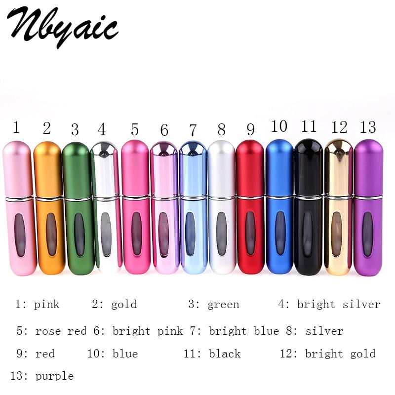 Frascos de perfume nbyaic portáteis recarregáveis, mini atomizador vazio para viagem, recipientes cosméticos para viajante p27