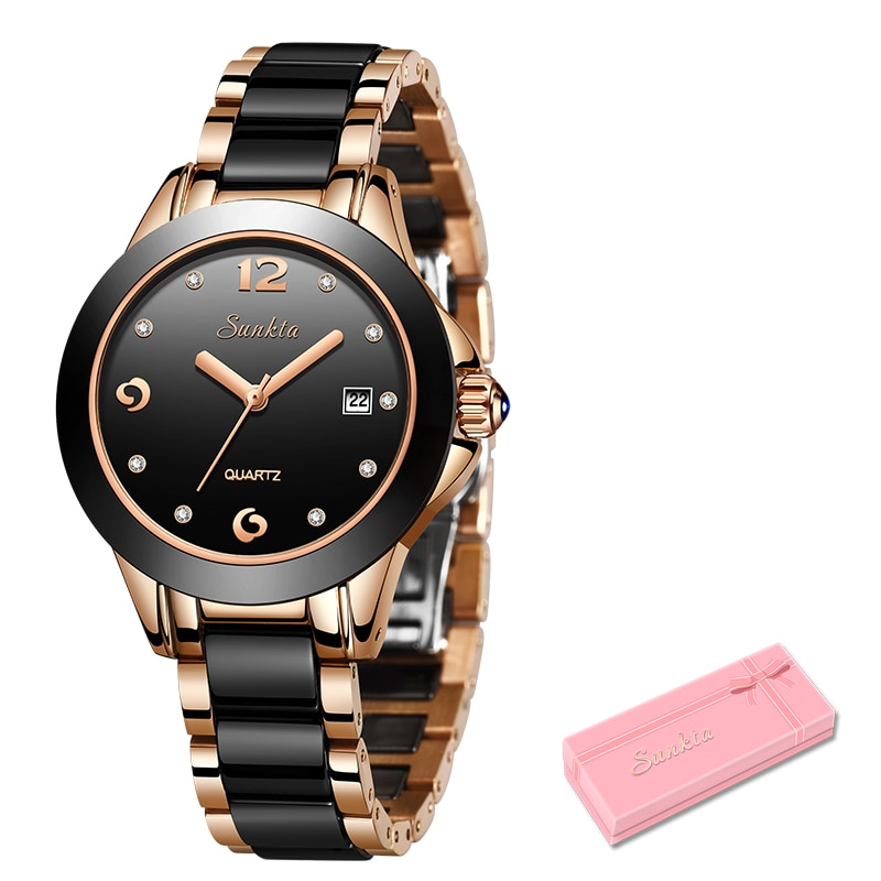 SUNKTA Gift Quartz Women Watches Ceramics Stainless Steel Watches Women Top Luxury Brand Ladies Boutique Watch Reloj De Dama enlarge