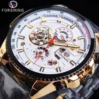 forsining automatic men casual sport watch golden calendar 6 hands multifunction black leather mechanical watches relojes hombre