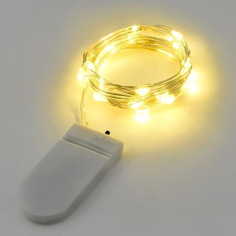 Медный светодиодный Сказочный светильник s, 1 шт., 2 м, 20 светодиодов, Кнопка CR2032, на батарейках, светодиодный светильник, рождественские, свад...