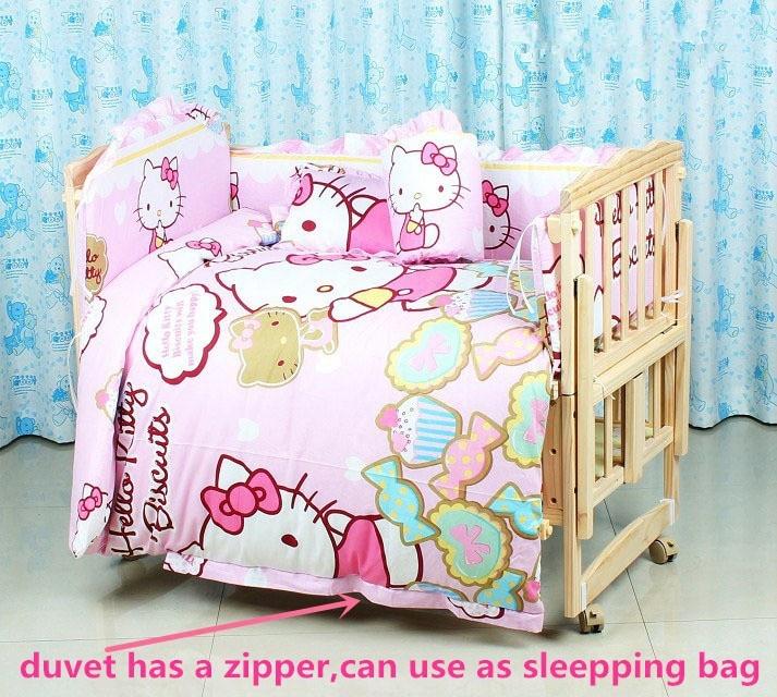 ¡Promoción! Juego de ropa de cama de bebé de 6 piezas de dibujos animados juego de cama de cuna de animales 100% algodón ropa de cama de bebé (3 parachoques + colchón + almohada + edredón)