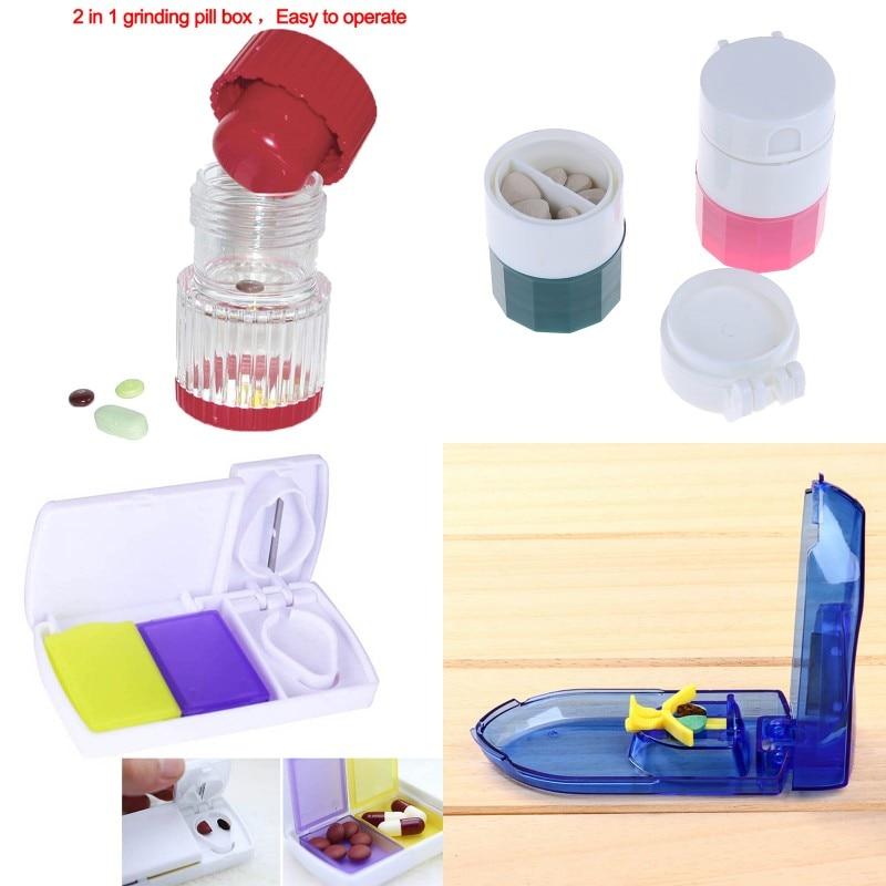 4 Style Pill Box Cutter Crusher Tablet Pill Cutter Splitter Medicine Storage Splitters Cut Slicer Portable Pill Cases Dispenser