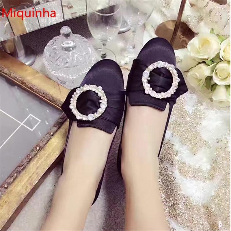 Gran oferta, zapatos planos con hebilla, decoración de diamantes de imitación, zapatos de boda con punta redonda, zapatos planos de cristal para mujer, zapatos para dama de honor