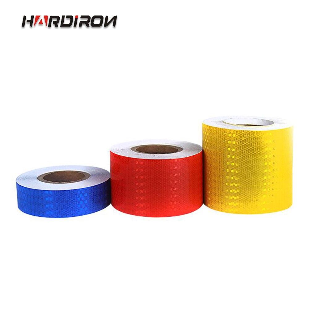 HARDIRON 5 سنتيمتر واسعة اللون المرور تسليط الضوء عاكس ملصق الأرض جدار السلامة تسجيل مع شعرية غشاء عاكس