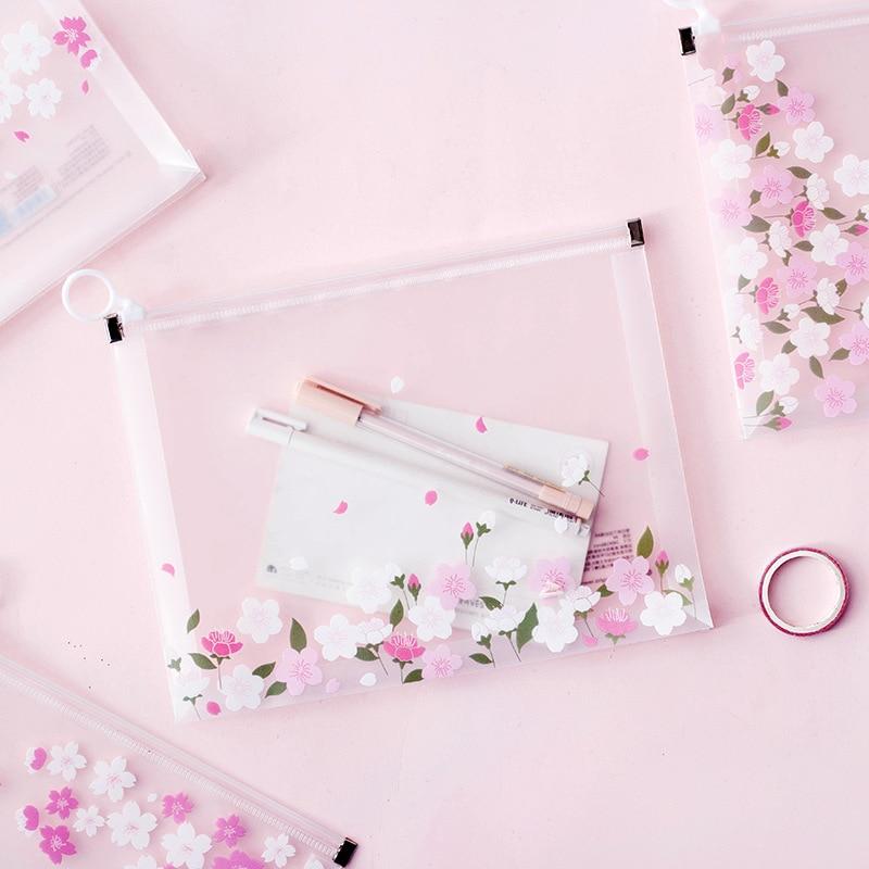 A4 A5 Clear Document Bag Waterproof Sakura Flower Storage File Folder Cherry Tree Pouch Bag Office Zipper Paper Documents Holder