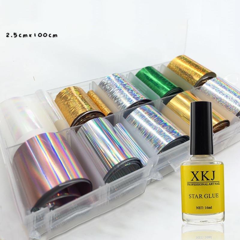 Holográfico láminas con uñas de pegamento de manicura gel para decoración de uñas de La Flor de encaje 2,5*100 cm colorido pegatina Transfer manicura Decoración