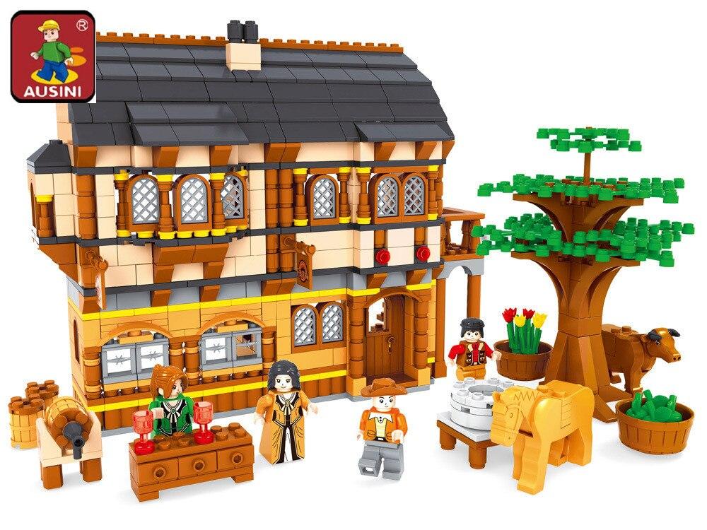 AUSINI 28002 Ausini מימי הביניים שמח חוות אבני בניין סטי 838 Pcs לבני בנייה חינוכית צעצועים לילדים