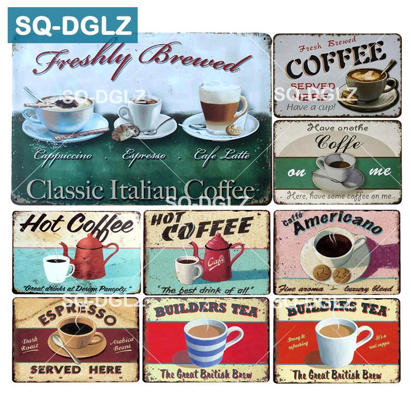 [SQ-DGLZ] café caliente Metal Sign Builders platos de té recién elaborado decoración de la pared Espresso lata signos placa Retro