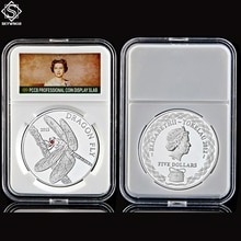 2012 replik Tokelau Tier Drachen Fliegen Elizabeth II Silber Souvenir Kopie Münze W/ PCCB Halter