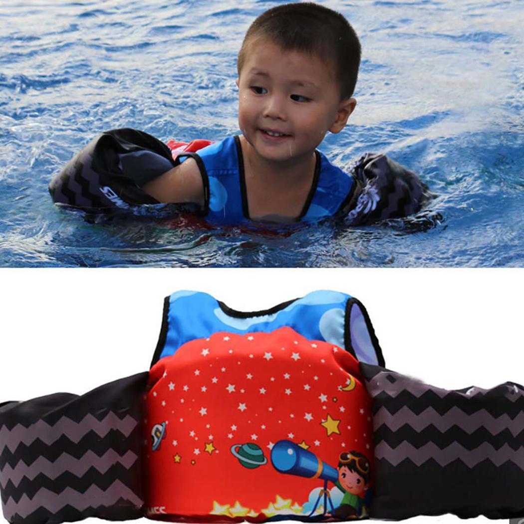 Chaleco flotante de flotación de natación para niños, traje de natación, piscina, chaleco salvavidas de dibujos animados de playa rojo, azul