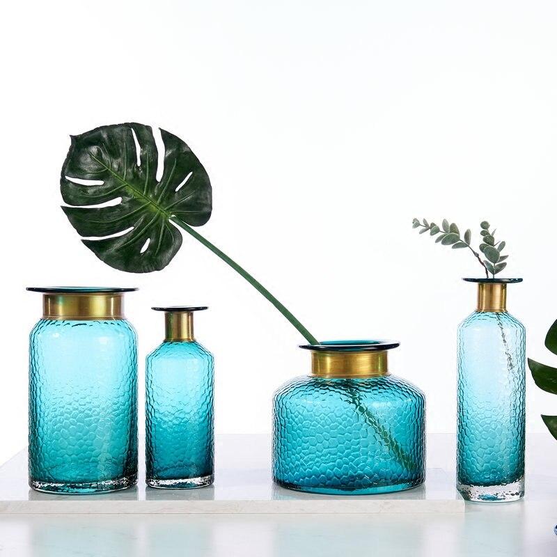 Florero para flores secas superficie martillada florero de Color azul