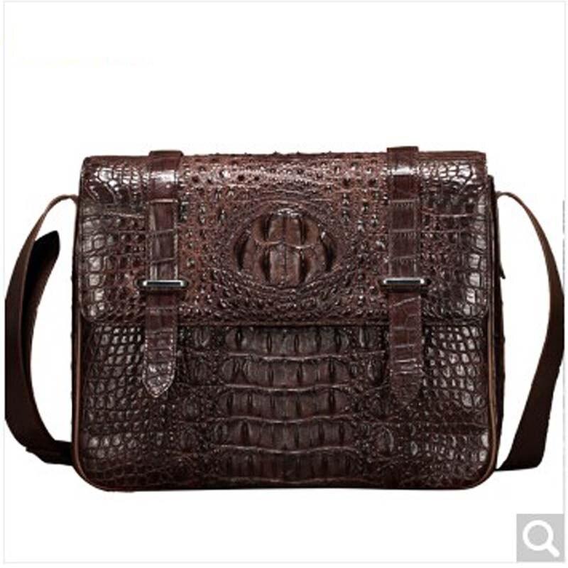 baosidu new arrival crocodile leather man single shoulder bag fashion men's bag business oblique cross  Korean men crocodile bag