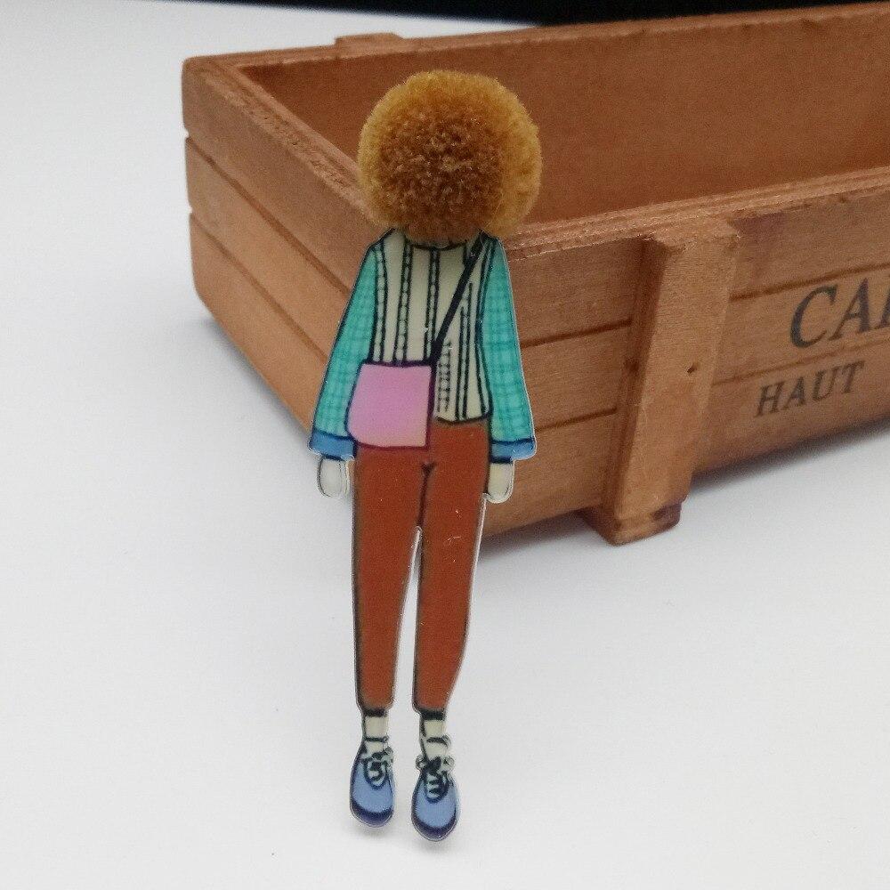 De dibujos animados lindo broche para ropa hecho a mano pompón La chica genial acrílico placas para accesorios de moda de mujer de icono de Packpack