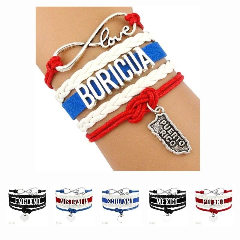 Pulseras de América para mujer, pulseras de país, Puerto Rico, Boricua, Alemania,...