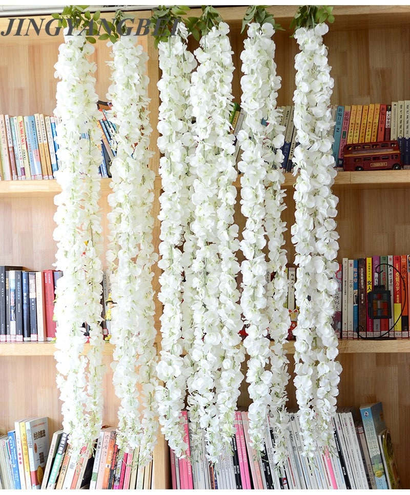 140cm 3head white Silk Wisteria Flowers Vine Hanging Artificial Plant Home Hotel Decor  Garland Wedding Party decoration