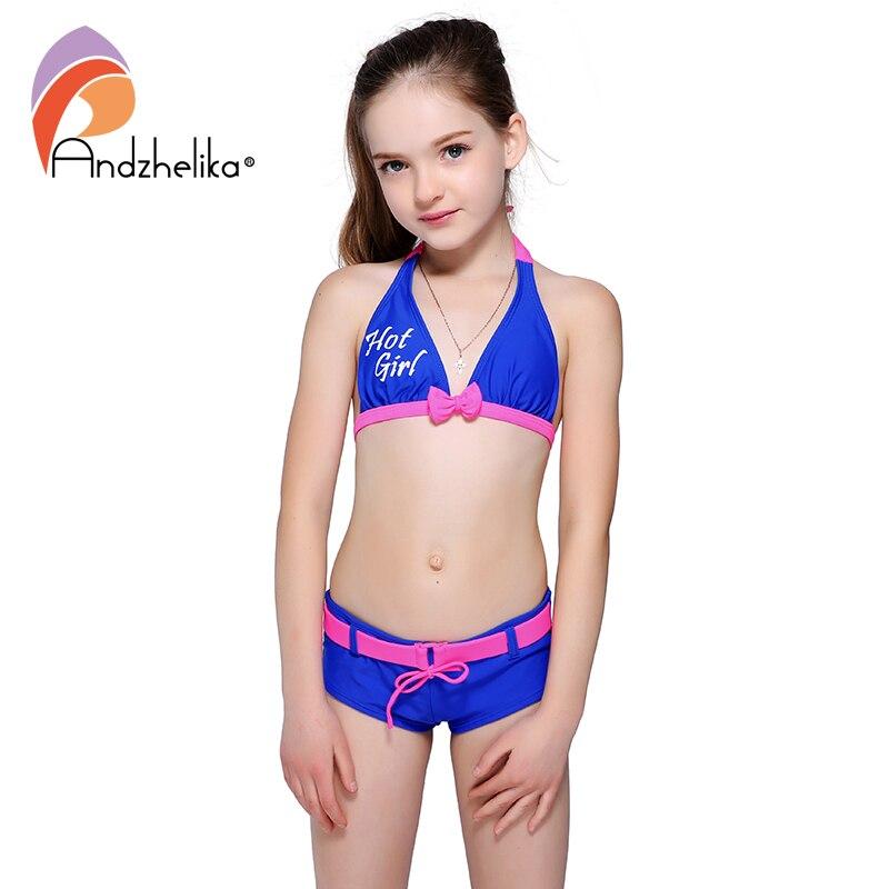 Andzhelika chicas en Bikini traje de niño lindo Bikini Patchwork deportes para niñas traje de los niños traje de baño playa chico nadar