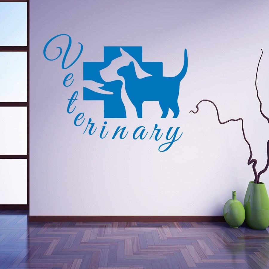 Calcomanía de pared del salón de aseo para mascotas servicios veterinarios vinilo perro gato tienda de Hospital pegatinas extraíbles clínica veterinaria diseño SYY565