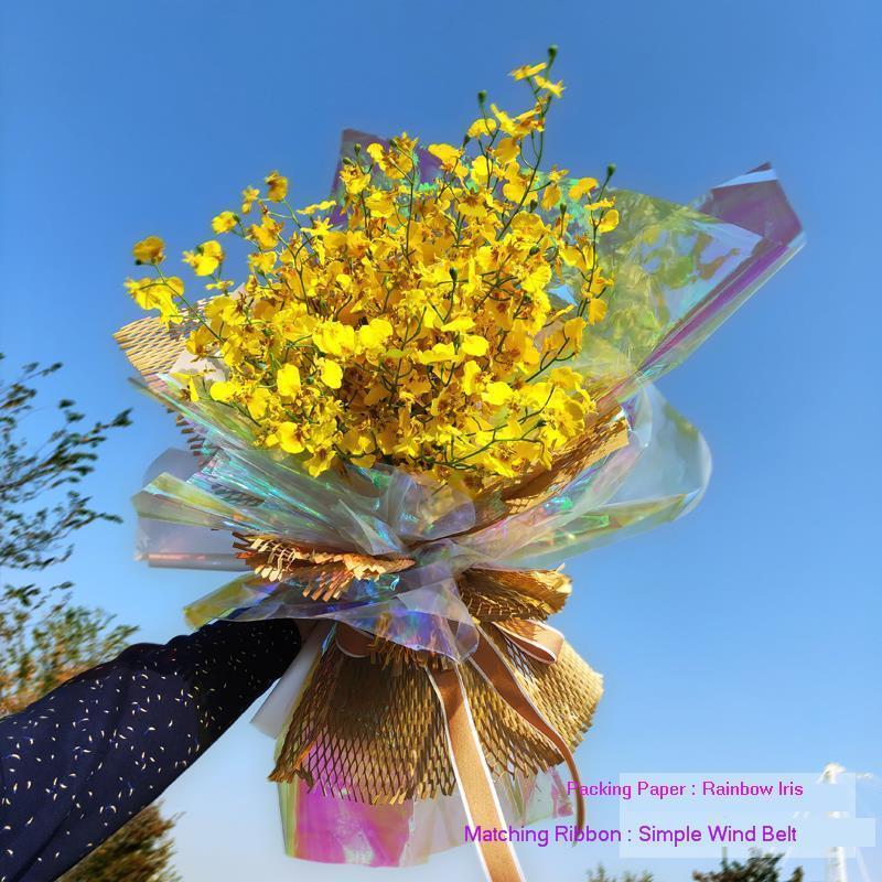 10 yardas gruesas 3,5 seda Arco Iris celofán papel de embalaje ramo de flores Material de embalaje regalo embalaje color celofán rollo