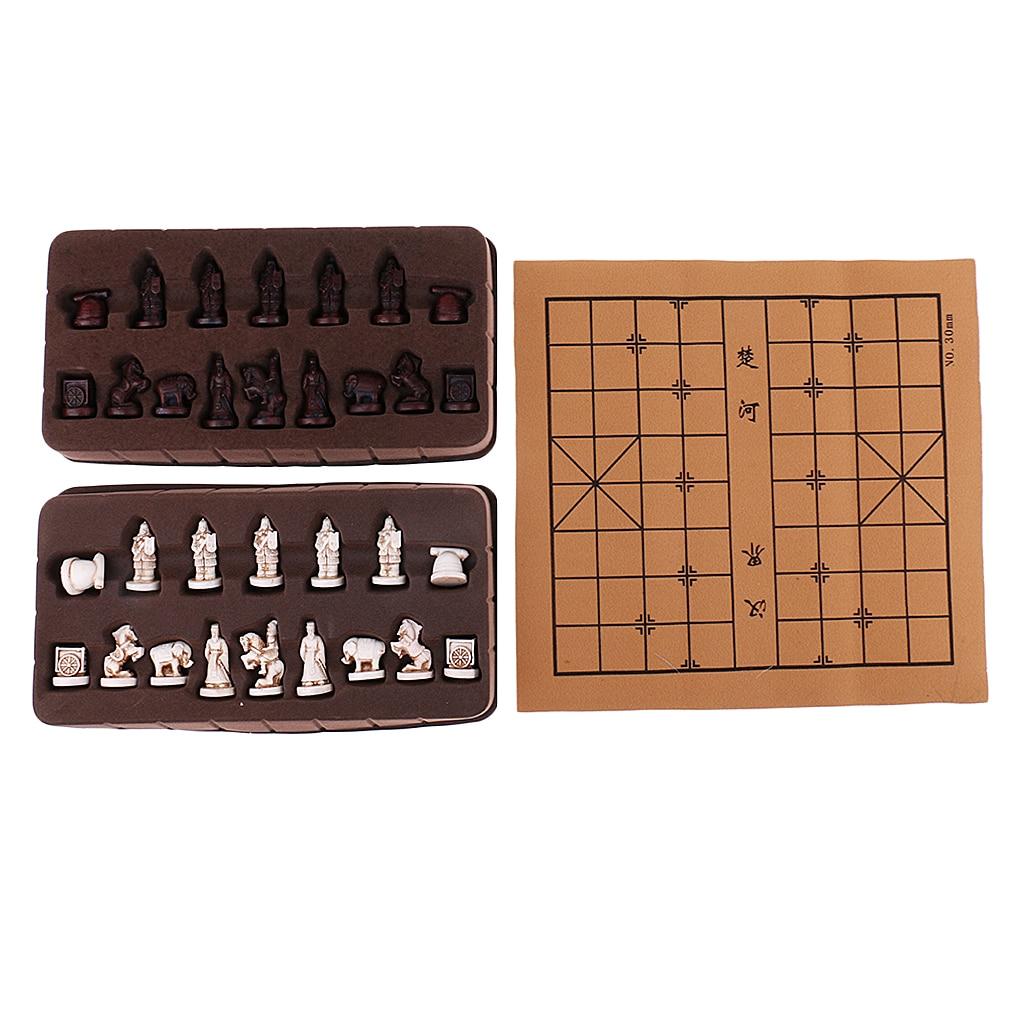 Vintage estereoscópico xadrez dobrável imitação de couro tabuleiro xadrez chinês tradicional xiangqi artesanato peças conjunto