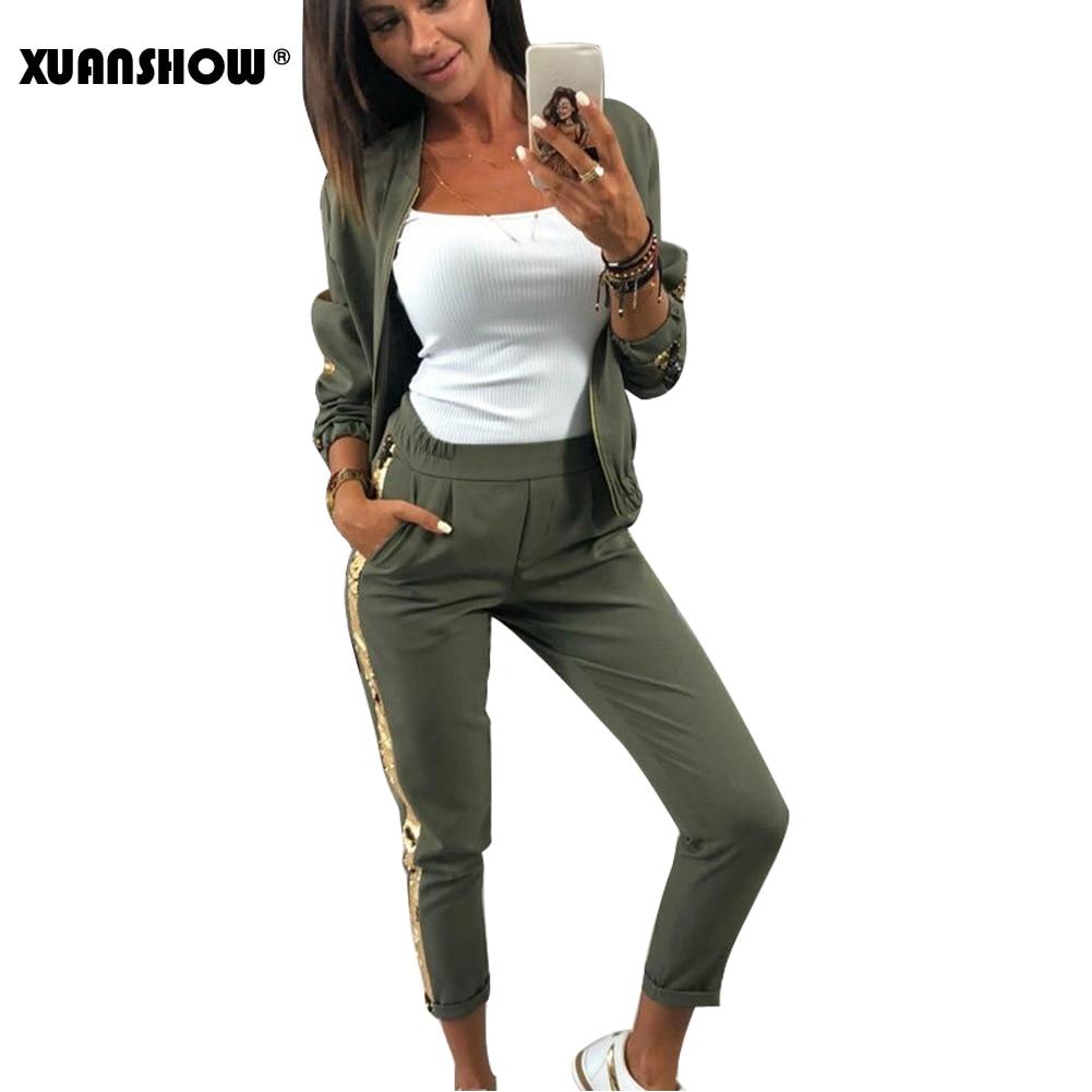 XUANSHOW 2021 Tracksuit Women Fashion Autumn Casual Sequin Sportswear Suit Zipper Cardigan Long Pant Two Piece Set Chandal Mujer