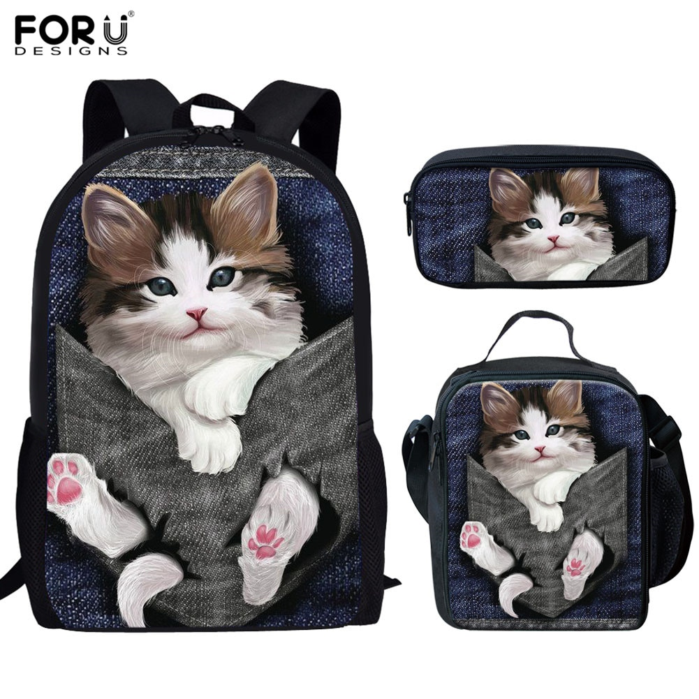 FORUDESIGNS School Bags Student Girls 3pcs 3D Cat Kitty Pattern Orthopedic Satchel Backpack Pencil Book Bag Teenagers Rucksack