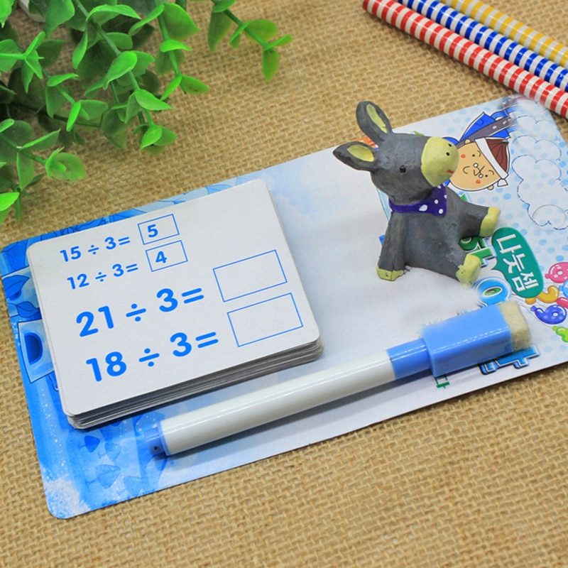 1 Set Reusable Kids Mathematics Montessori Materials Educational Toys for Children Erasable Card with Pen Preschool Learn Games