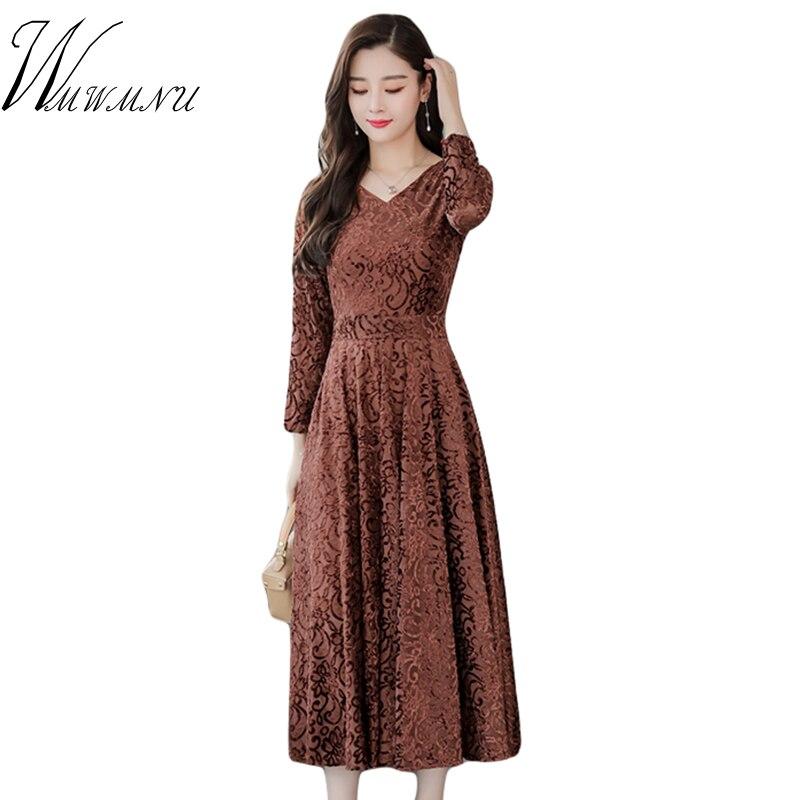 Fashion New Velet Autumn Winter Dress 2018 Elegant Women V-Neck Long Sleeve Bodycon Dress And Plus Size 3XL Ladies Party Dress