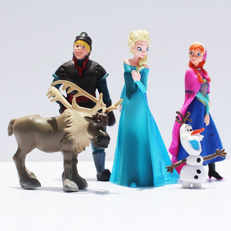 5 Pcs/set Fever 2 Snow Queen Princess Anna Elsa Figure Kristoff Sven Olaf PVC Model Dolls Collection Birthday Gift Kids Toys