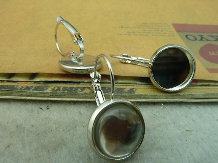 10 piezas 12mm blanco K latón redondo camafeo cabujón Base ajuste auriculares franceses gancho con vidrio transparente C3350