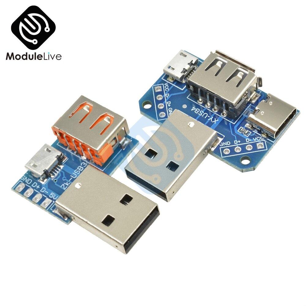2,54 мм 2,54 мм USB конвертер Стандартный USB гнездовой к Micro USB к Type-C 4P 4Pins клеммный адаптер плата PCB плата