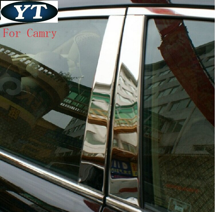 Embellecedor de pilar de ventana media de coche para Toyota Camry 2012-2015 2016, 6 unids/set, acero inoxidable, accesorios de exterior de coche