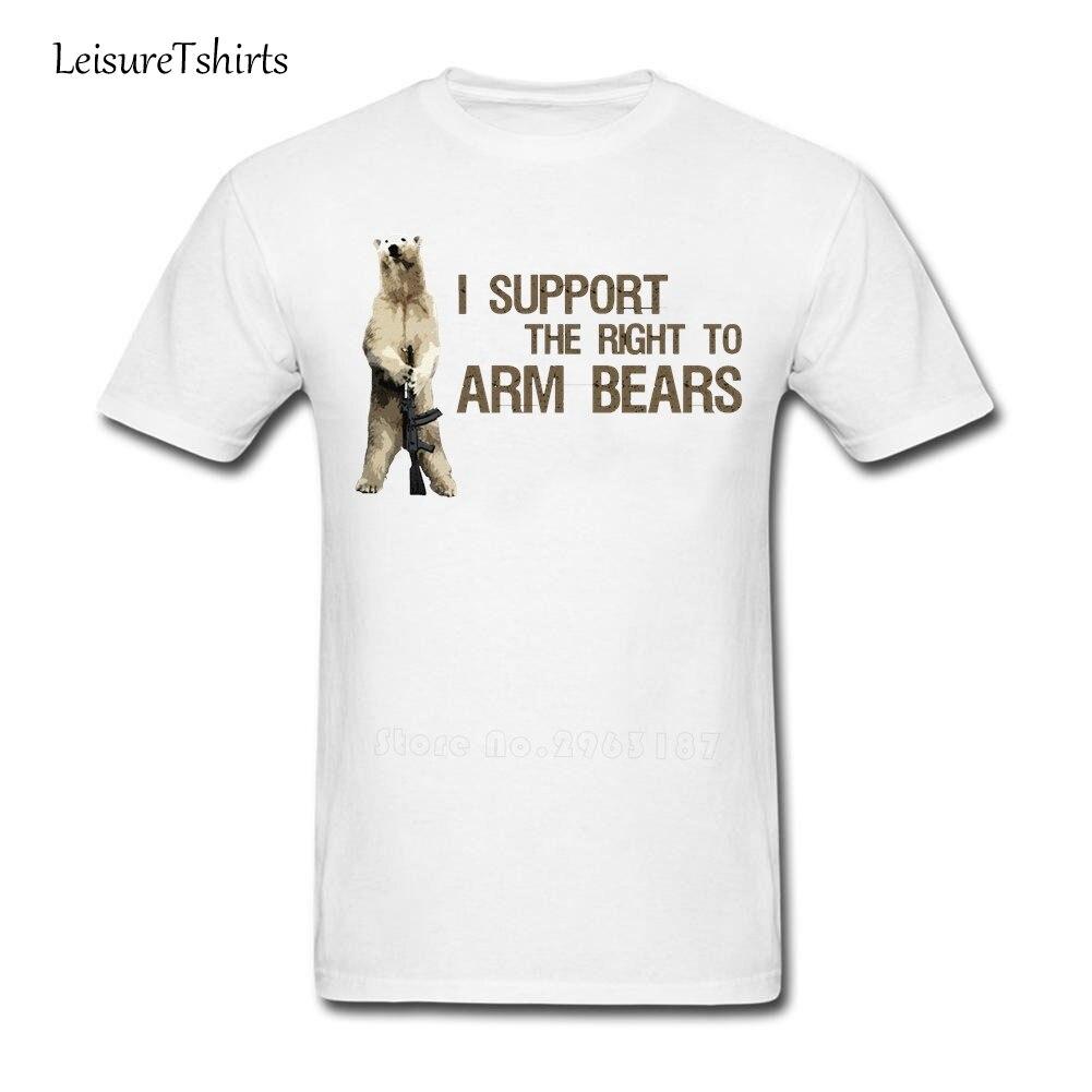 Camiseta I Support The Right To Arm Bears Polar Bears para hombre, geniales camisetas de algodón de verano 100% para hombre, camisetas holgadas de moda 2020 para papá
