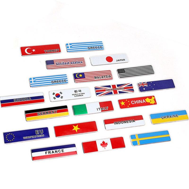 Autocollant 3D en aluminium pour voiture, emblème de drapeau européen, grèce, France, italie, allemagne, états-unis, royaume-uni, suède, corée, accessoires de moto