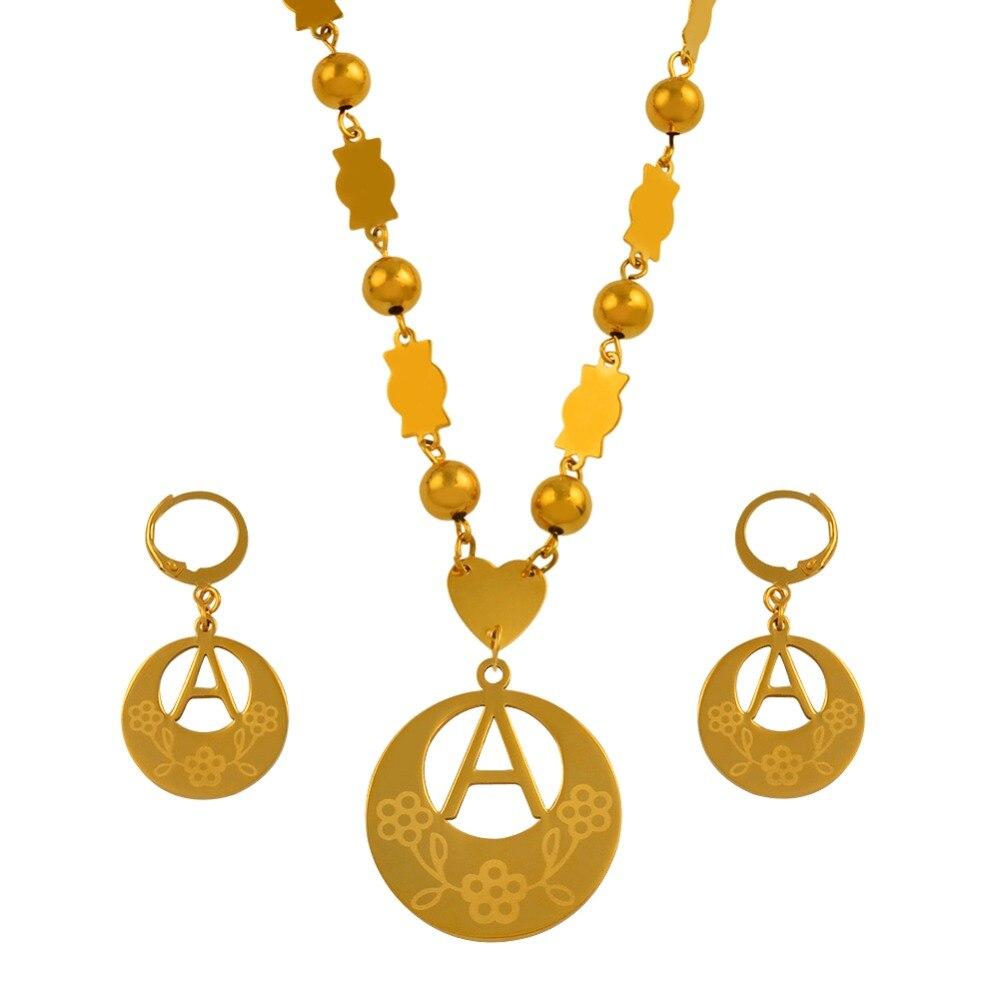Anniyo A-Z 26 letras colares cor de ouro marshall inicial alfabeto contas corrente jóias presentes micronésia # 040121ss