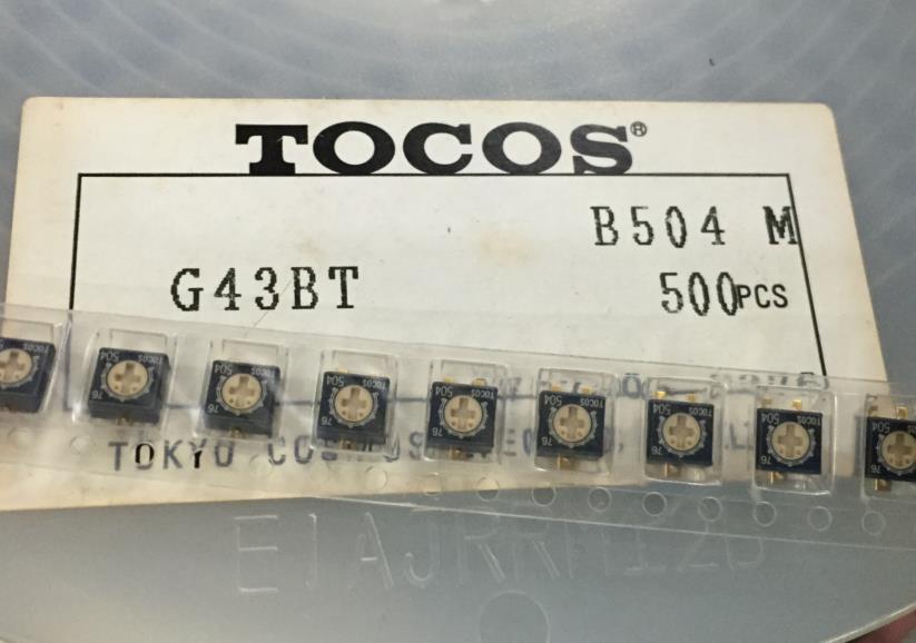 10 pcs G43BTB504 SMD trimmer TOCOS potenciômetro B500K única bobina 5*5 resistor ajustável ouro-banhado a pé