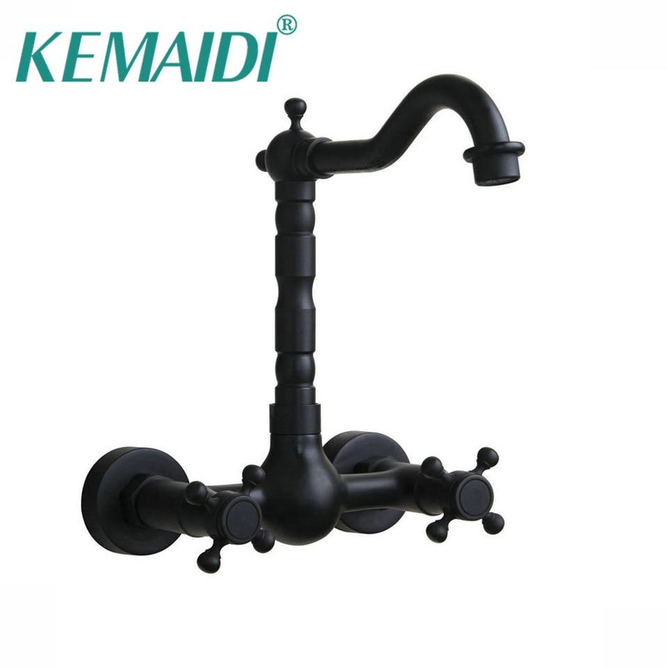 KEMAIDI Oil Rubbed Black Bronze Bathroom Faucet Bathtub Torneira Basin Sink Faucet Hot And Cold Mixers &Taps Doubel Handles