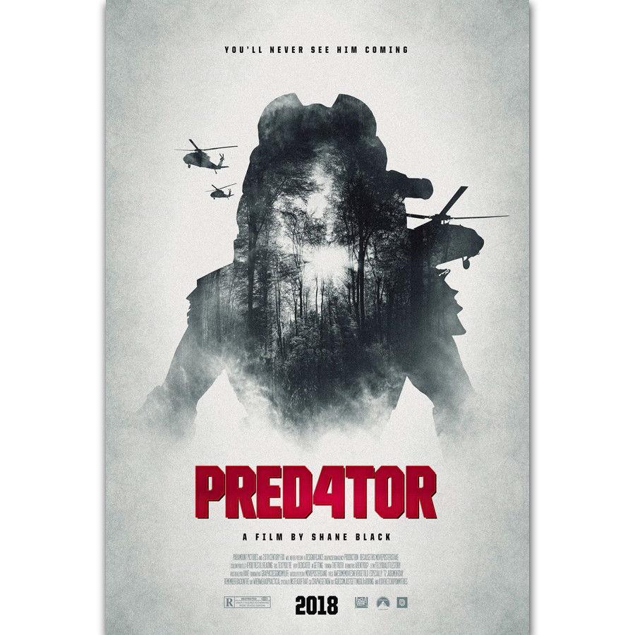 N0581 R054 el depredador 4 estampado negro Nuevo 2018 Horror película pared pegatina seda tela póster arte decoración interior brillante