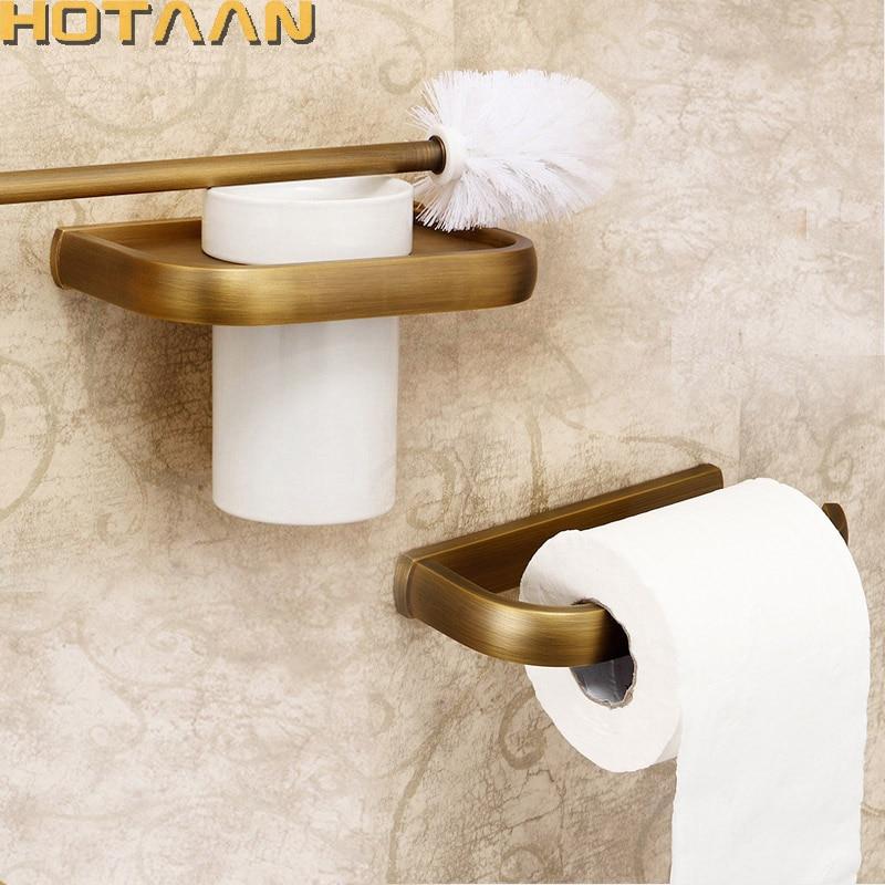 شحن مجاني ، الصلبة النحاس ملحقات الحمام مجموعة ، ورقة حامل فرشاة المرحاض حامل ، الحمام مجموعات ، العتيقة brassYT-10400-2