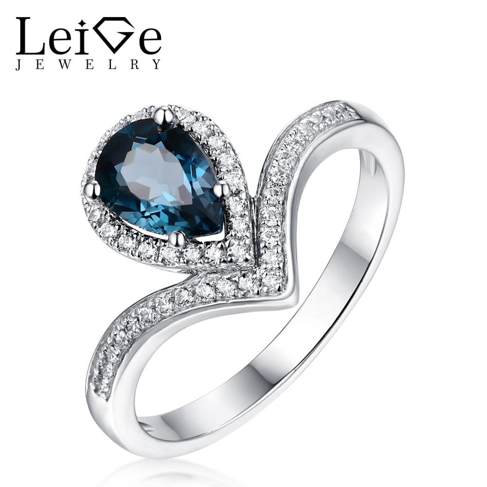 Leige joyería plata Londres azul Topacio anillo piedra preciosa pera corte mujeres boda compromiso promesa anillo navidad regalo para ella