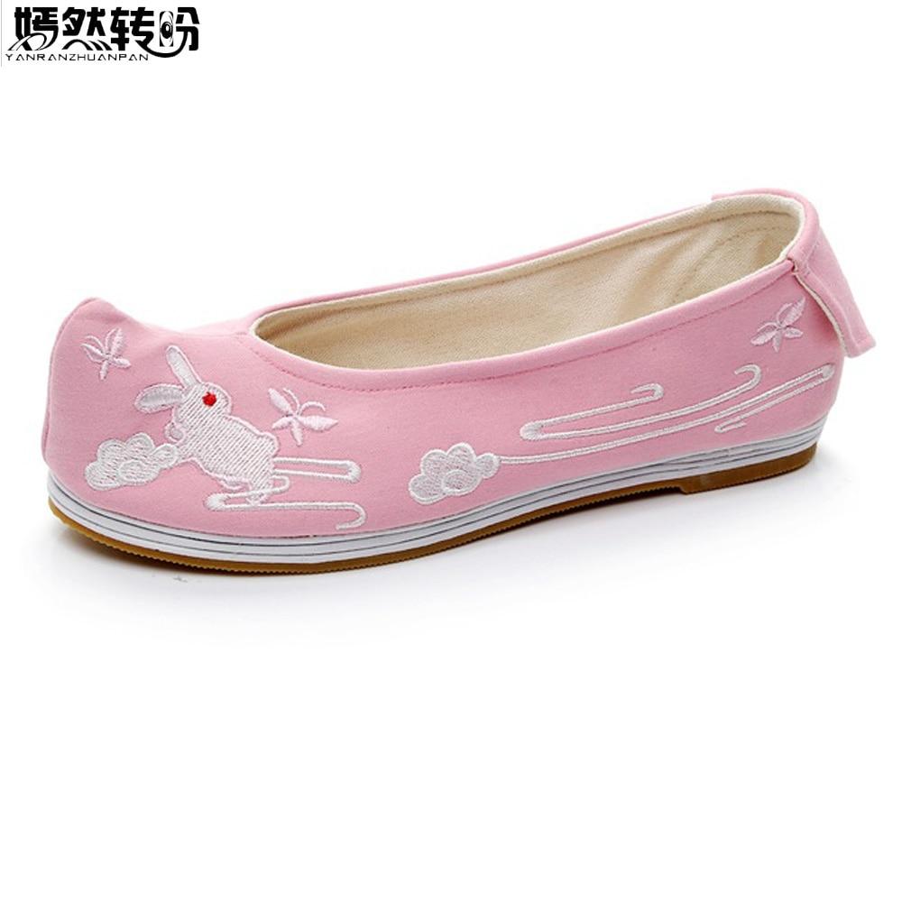 Женские туфли на плоской подошве в винтажном стиле, в стиле династии Han, с милым Кроликом, с вышивкой, для танцев, женская обувь, sapato feminino