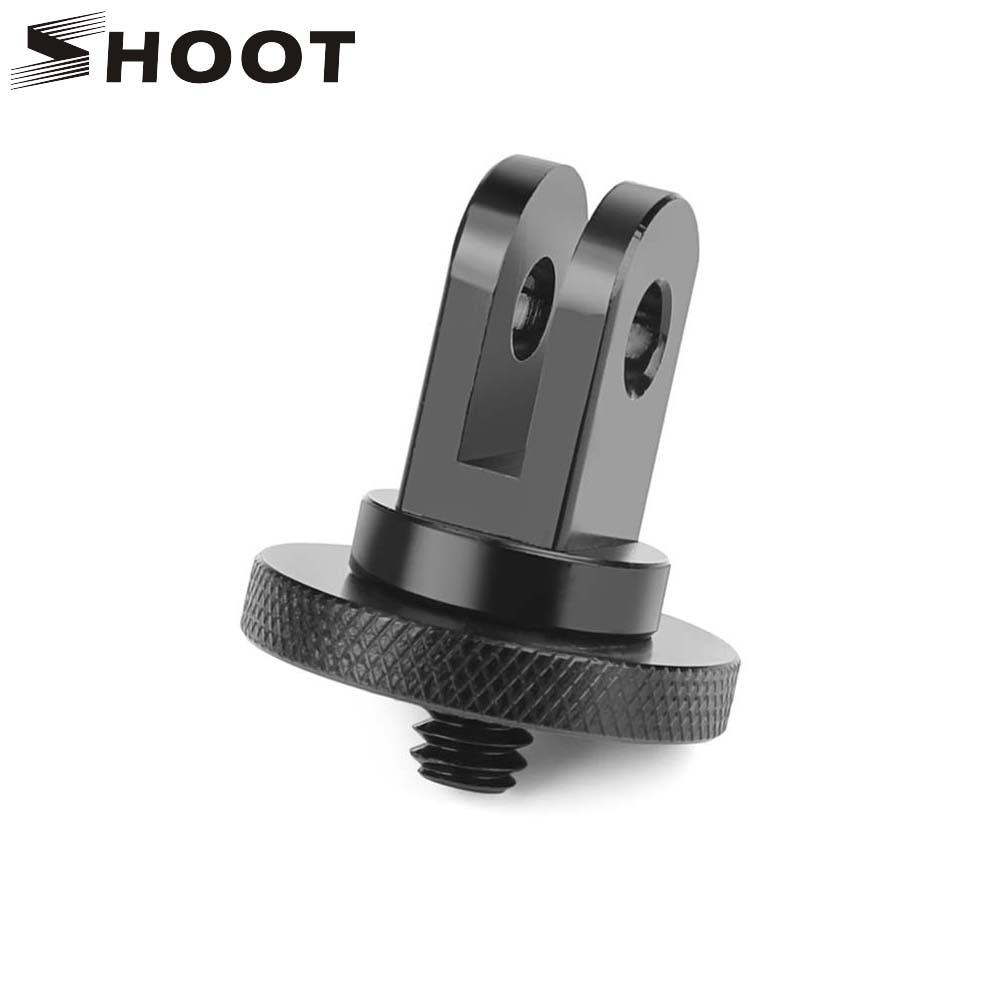 SHOOT Aluminum Alloy 1/4 inch Mini Tripod Adapter Mount for GoPro Hero 8 7 5 Black Sjcam M10 Xiaomi Yi 4K Eken Go Pro Accessory