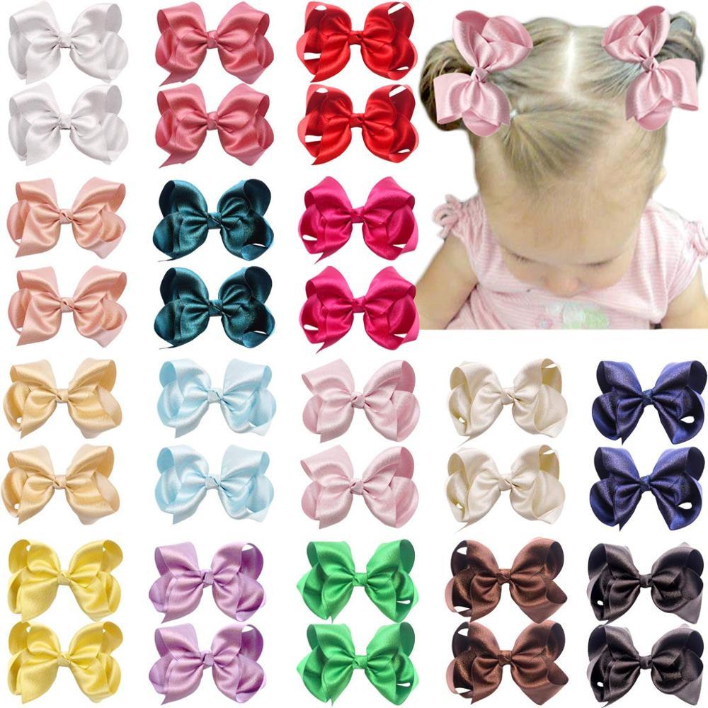 Pinzas para el pelo con lazo Premium de 32 Uds de 4,5 pulgadas cinta sedosa brillante Boutique con lazo para el pelo pinzas de cocodrilo para niñas adolescentes niños pequeños