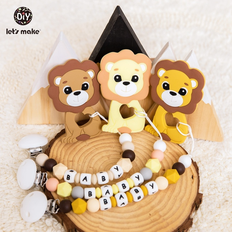 Let's Make 1pc Baby Pacifier Chain Food Grade Silicone Beads Lion Infant Teething Toys Bpa Free Silicone Animal Baby Teether недорого