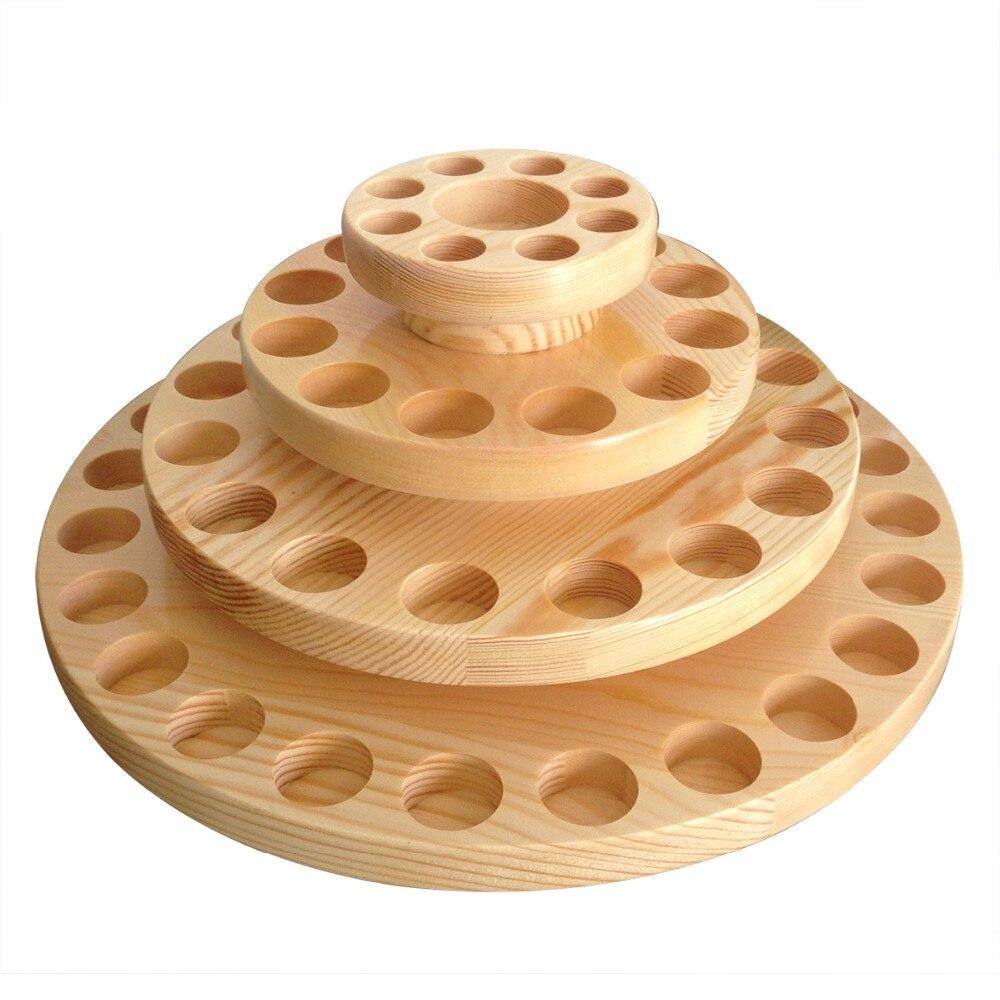 Estante giratorio hecho a mano para exhibición de madera, estante circular para botellas de aceite esencial, equipaje o cosméticos, clasificación de medicina