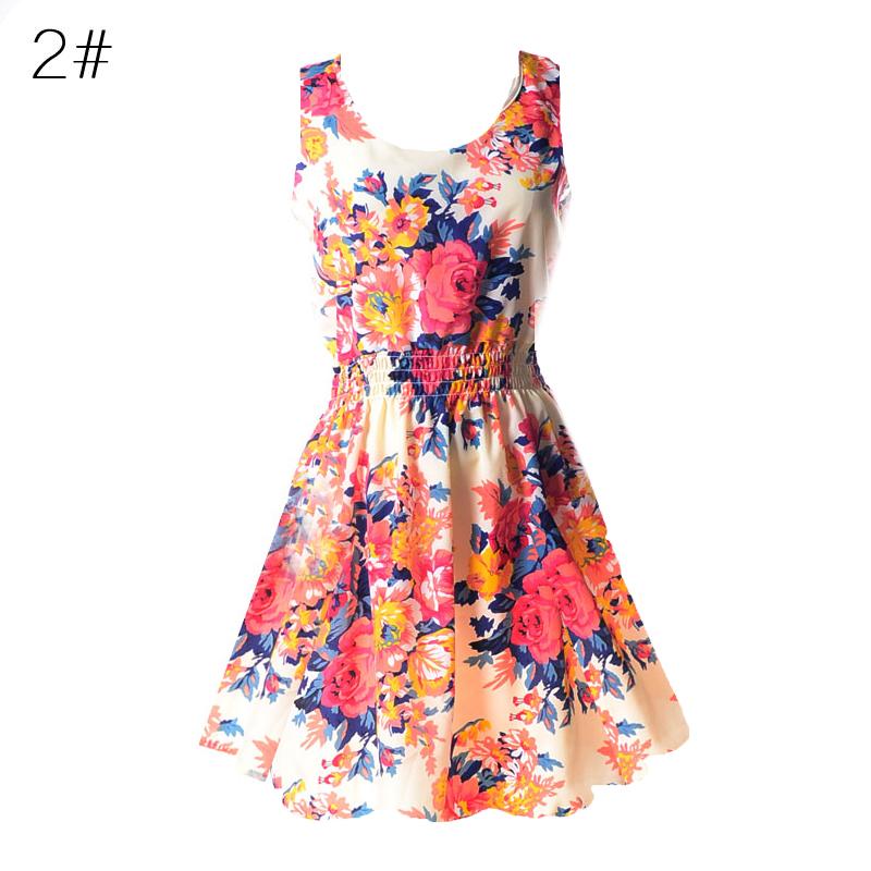 Sexy kobiety chiffon dress sundress plaża floral bez rękawów tank mini sukienki vestido 4