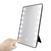 RUIMIO Make-Up Spiegel met 8/16 LEDs Cosmetische Spiegel met Touch Dimmer Batterij Operated Stand voor Tafelblad Badkamer Reizen