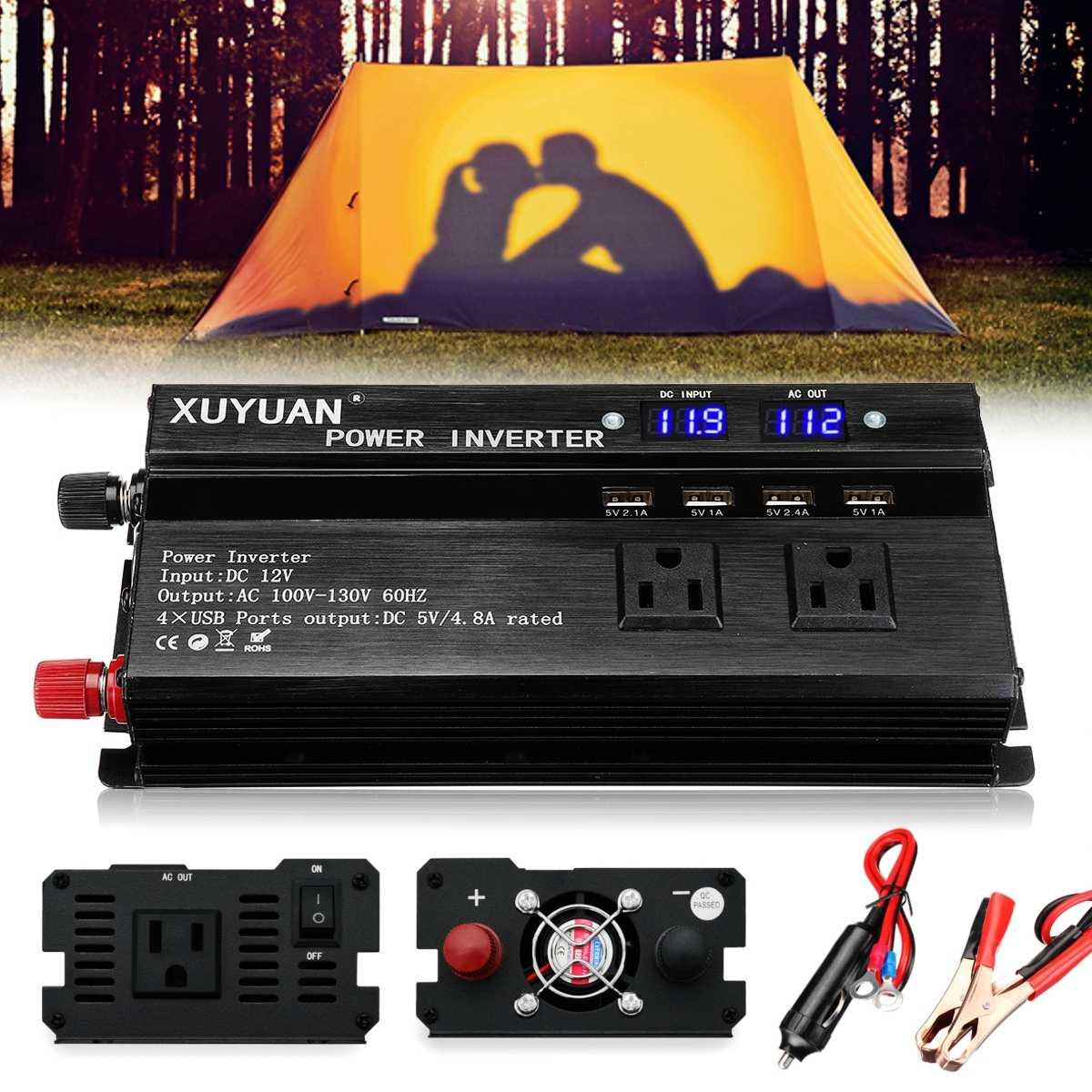 Auto Inverter 12V 220V 1500W Pea Power Inverter Spannung Transformator Konverter 12 220 Ladegerät Solar Inversor 12V 220V LCD Display