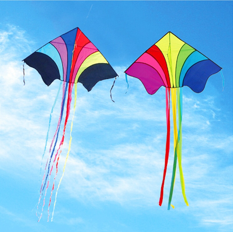 Envío Gratis alta calidad 10 piunids/lote cometas arcoíris con línea de mango juguetes al aire libre weifang ripstop nylon colas delta kite wei kite